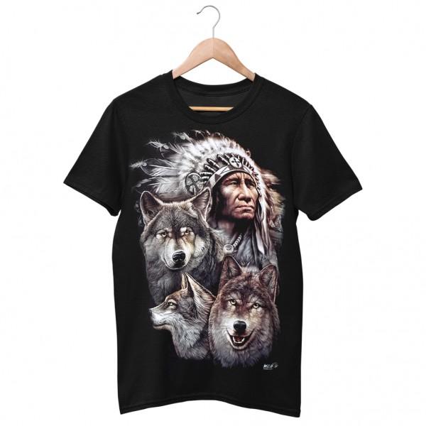 Wild Motiv Shirt Schwarz Indianer Tribe