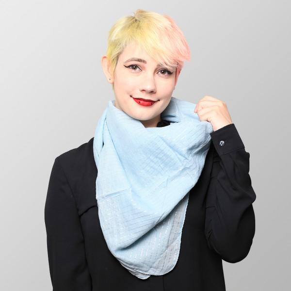 Baby Blaues Lurex Halstuch aus Weicher Gewebter Baumwolle