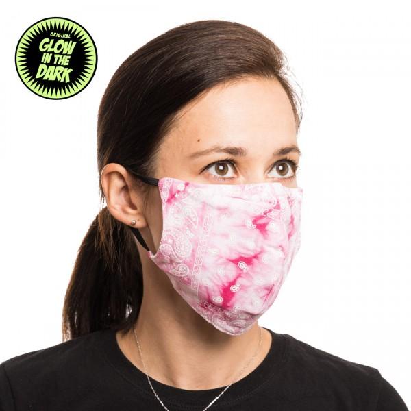 Girlie Tye Dye Pink Glow in the Dark Stoffmaske