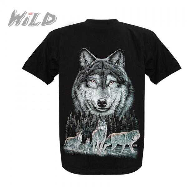 Wild Motiv Shirt Schwarz Wolfsrudel in der Wildnis