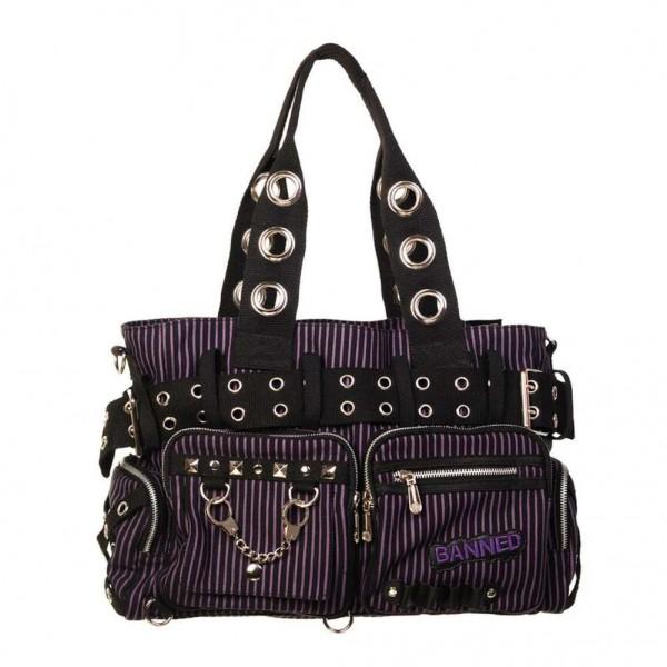 Banned Gestreifte Handtasche Schwarz Lila