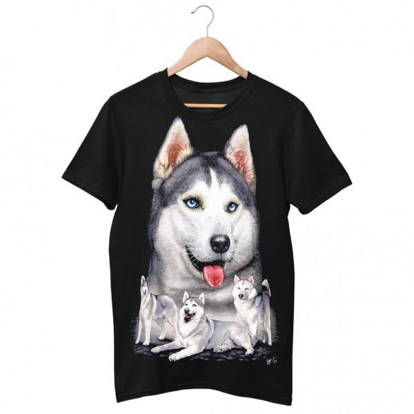 Wild Motiv Shirt Schwarz Wölfe im Schnee