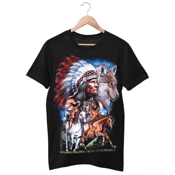 Wild Motiv Shirt Schwarz Reitende Indianer auf der Jagd