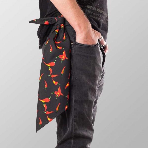 Bandana Halstuch Schwarz Hot Chillies 55 cm x 55 cm