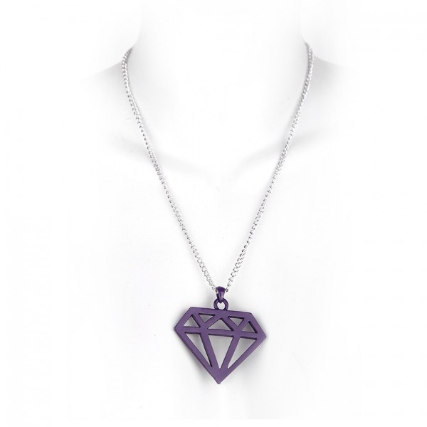 Metallkette mit Lilanem Diamant Anhänger