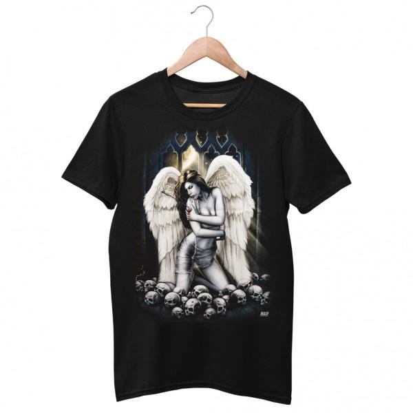 Wild Motiv Shirt Schwarz mit Fallen Angel