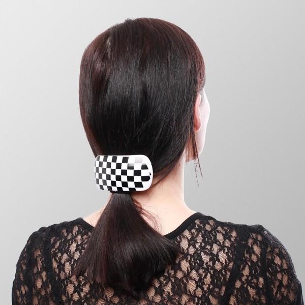 Haarspange Retro 6er Display - Kariert - 3x Schwarz / Weiß und 3x Schwarz / Grau