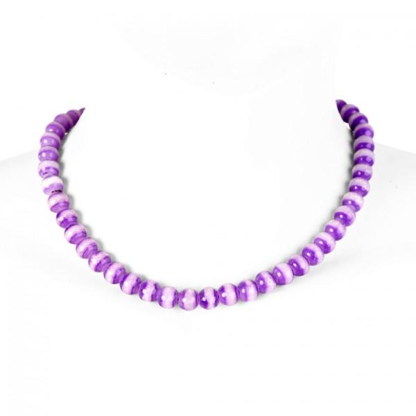 Fluoreszierende künstliche Perlenhalskette in Lila