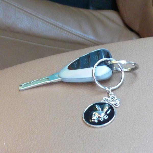 Metall Schlüsselanhänger Totenkopf Hase