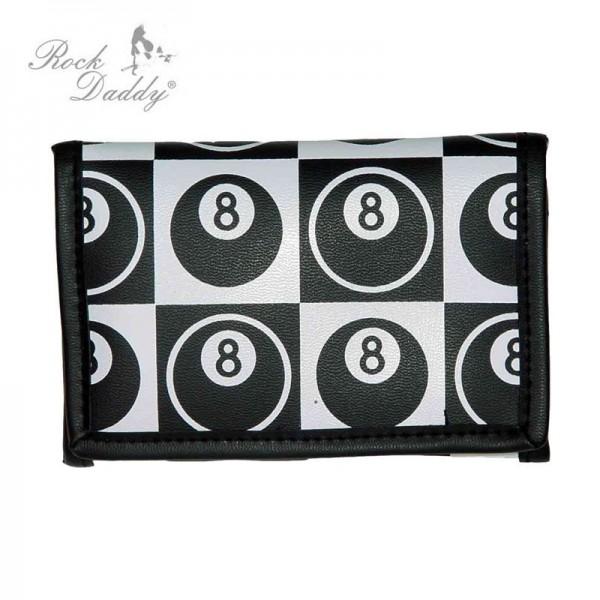 Eight Ball Billiard Schachbrett Geldbörse Schwarz Weiß