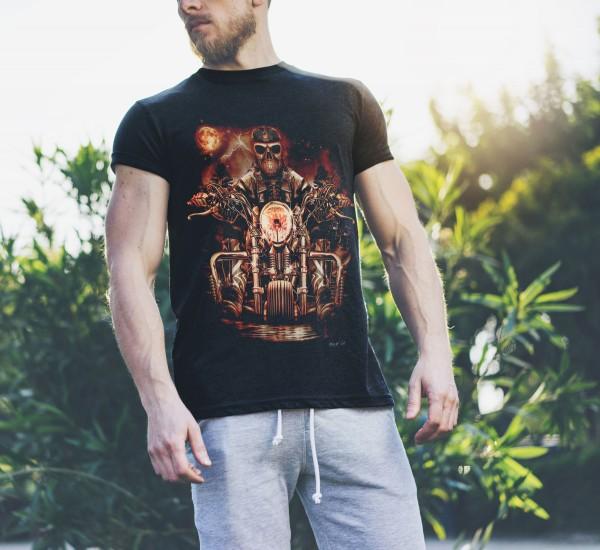 Glow in the Dark Shirt Schwarz Hellrider