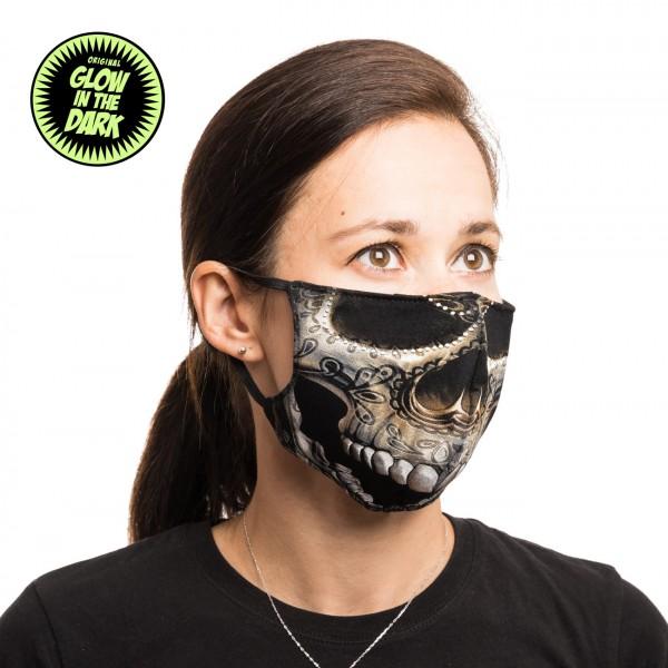 Mexican Skull Glow in the Dark Stoffmaske La Santa Muerte
