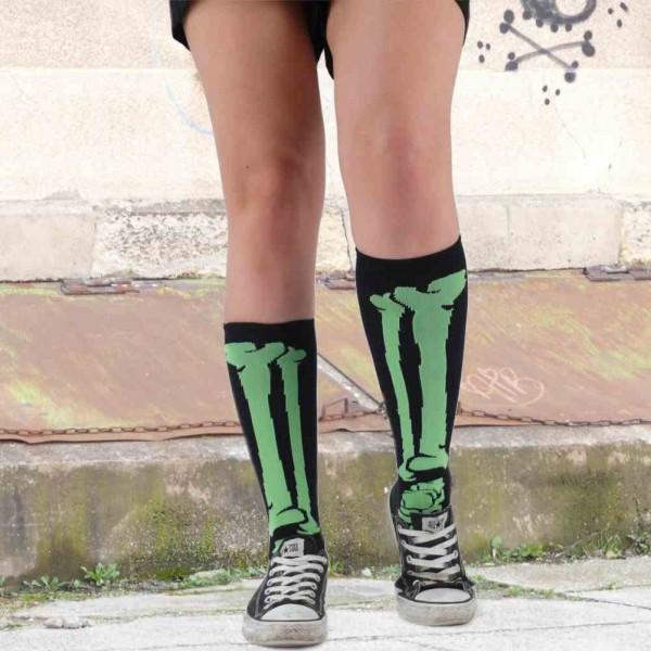 Schwarz Limetten Grüne Skelett Knochen Socken Unisize