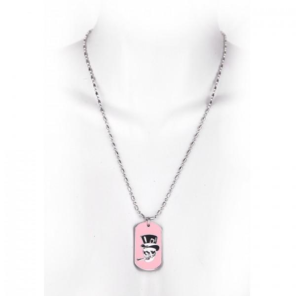 Metallkette mit Dog Tag - Totenschädel und Hut - Pink
