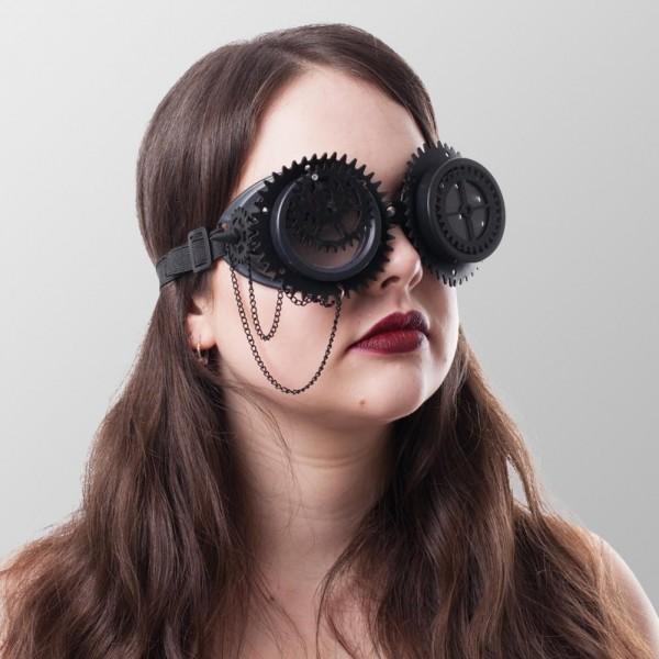 Steampunk Brillen mit Zahnrädern Back in Time in Schwarz Schweißerbrille Schwarz