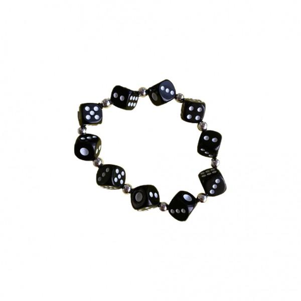 Schwarzes Würfel Armband mit kleinen Perlen