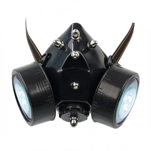 Gasmaske mit Bullet Spikes und LED Licht
