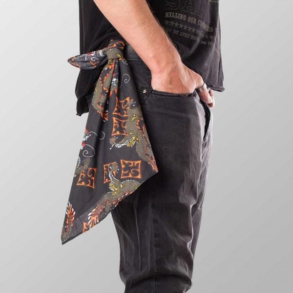 Bandana Halstuch Schwarz Chinesischer Drache 55 cm x 55 cm