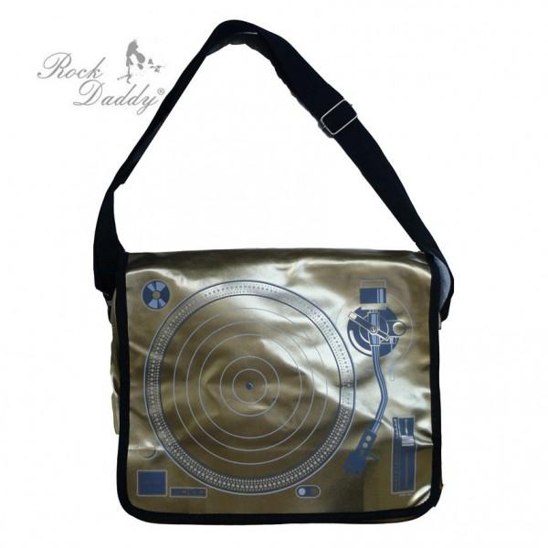 Gold Farbene Schallplattenspieler Tasche als Messenger Bag