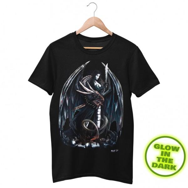 Glow in the Dark Shirt Schwarz Amazonen Drachen Kriegerin