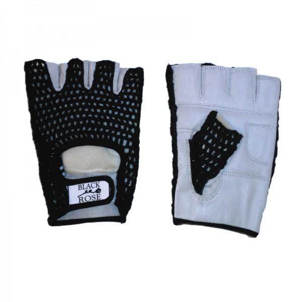Schwarz Weiße Leder Handschuhe mit Abgestepptem Netz