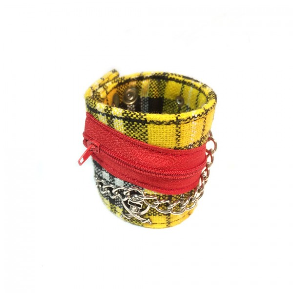 Gelb Kariertes Stoff Armband mit Metall-Accessoires