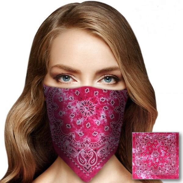 Bandana Halstuch Tie Dye Paisley Floral in Pink 55 cm x 55 cm