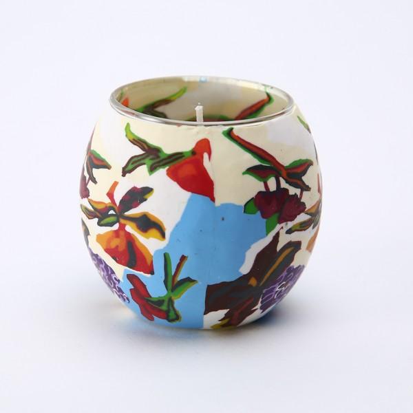 Fimo Glaswindlicht handgemacht beige mit floralem Muster inkl. Kerze