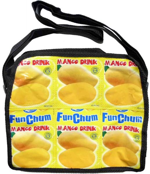 Mango Recycling Umhänge Messenger Tasche in Abgesetztem Schwarz