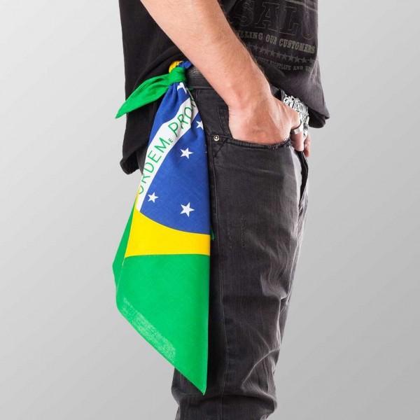 Bandana Halstuch Grün Brasilien Flagge 55 cm x 55 cm