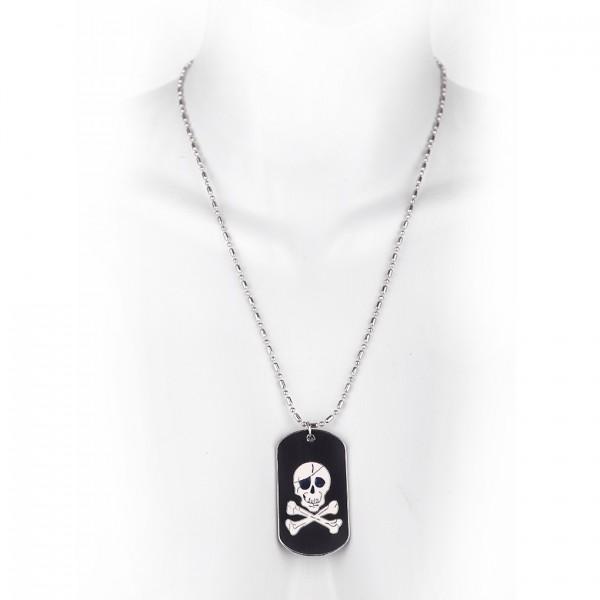Metallkette mit Dog Tag (klein) - Pirat - Schwarz