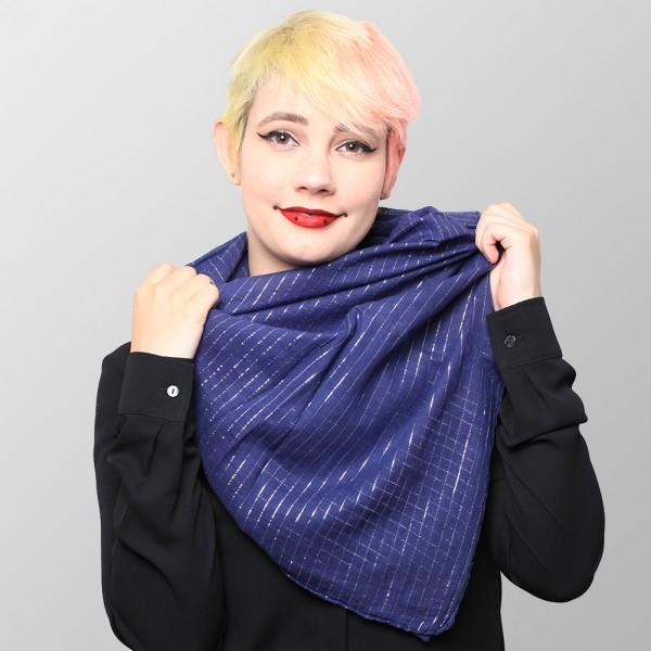Blaues Damen Lurex Halstuch aus Weicher Baumwolle