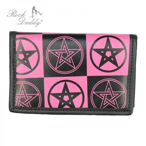 Pentagram Ocult Print Börse in Schwarz Pink