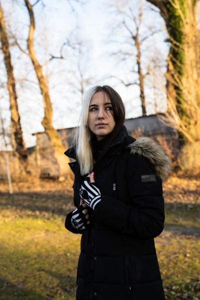 Gestreifte Pik Handschuhe im Rauten Design ohne Finger Schwarz Weiß