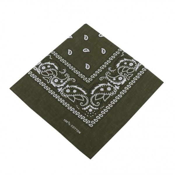 Bandana Halstuch Olive Grün Paisley 55 cm x 55 cm
