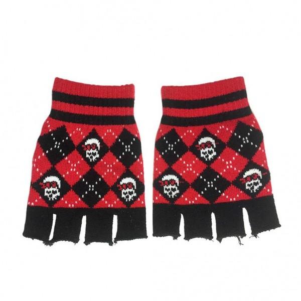 Rauten Handschuhe ohne Finger mit Eingewebten Piraten Skulls