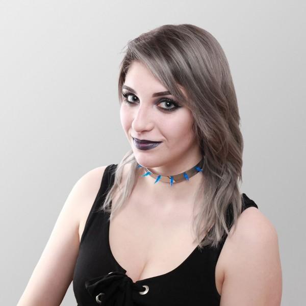 Metall Choker mit Blauen UV Spikes