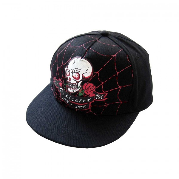 Totenkopf mit Rose Flat Cap