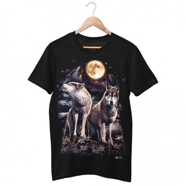 Wild Motiv Shirt Schwarz Wölfe in der Natur