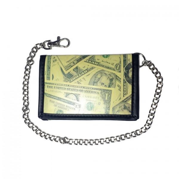 Dollarschein Aufdruck Geldbörse mit Kette