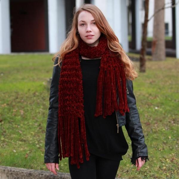 Bordeaux Farbener Damen Netz Struktur Winterschal