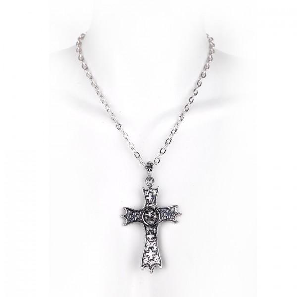 Metall Halskette mit Anhänger - Kreuz mit Wolf
