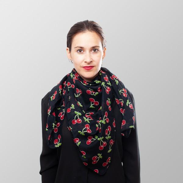 Rockabella Schwarzes Cherrys Kirschen Halstuch