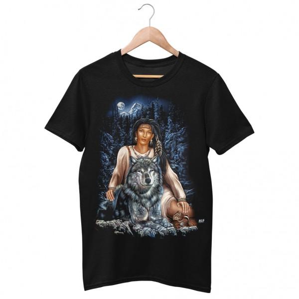 Wild Motiv Shirt Schwarz Pocahontas Wolf Pack