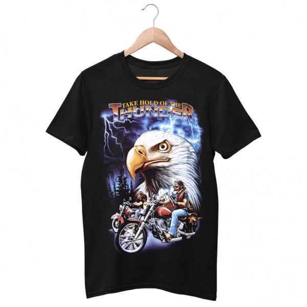 Wild Motiv Shirt Schwarz Biker Tour Blitz Adler