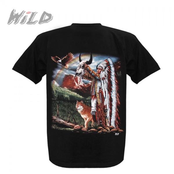 Wild Motiv Shirt Schwarz Indianer Anbetung der Natur