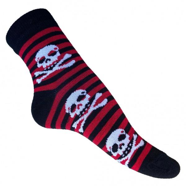 Gestreifte Jolly Roger Totenkopf Socken one size