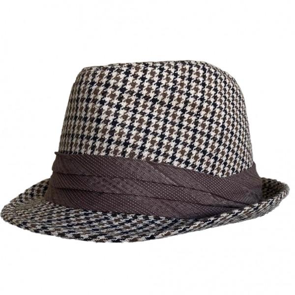 Schwarz Brauner Hahnentritt Hut mit Hutband
