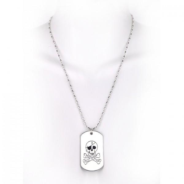 Metallkette mit Dog Tag (klein) - Pirat - Weiß