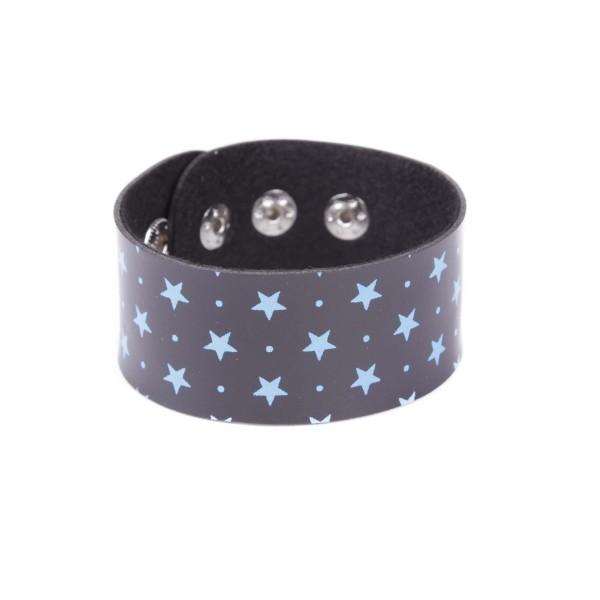 Kunstleder Armband Schwarz mit Blauen Sternen